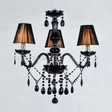 three lights black crystal droplets accented and fabric shades captivating mini chandelier with lamp