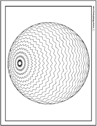 3d geometric pattern coloring page zigzag sphere