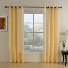 Living Room Curtain Rods Simple Living Room Decoration With One Panel Yellow Sheer Curtain