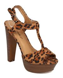 breckelles fd06 leopard faux suede p toe t strap wooden chunky heel sandal