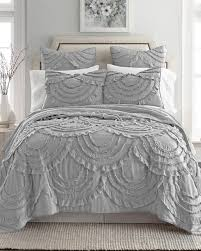 quilt sets queen classic grey white color combine lyla ruffled luxury quilt collection best with