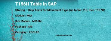 The Help Text T156h Sap Table For Help Texts For Movement Type Up To