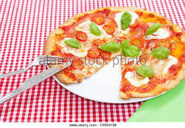 italian kitchen table square xcm pizza on checkered tablecloth stock image