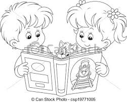 450x360 children reading little and boy reading a book vector