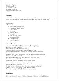 Health Educator Resume Template Best Design Tips Myperfectresume