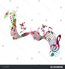 Stave Music Colorful Stave Music Notes Butterflies Isolated Soidergi