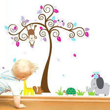 jungle tree wall decals nursery wall decals for boys colorful ...