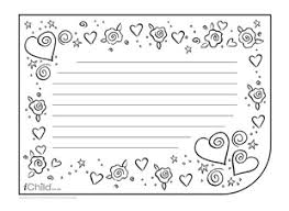 Valentines Day Letter Template Valentine Lined Writing Paper Template Horizontal Ichild