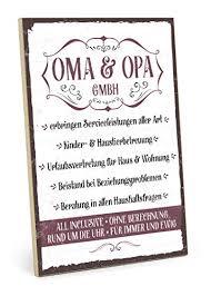 Typestoff Holzschild Mit Spruch Oma Und Opa Gmbh Im Vintage Look