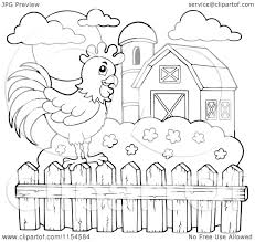 farm fence drawing. Cartoon Of An Outlined Rooster On A Farm Fence - Royalty Free Vector Clipart By Visekart Drawing