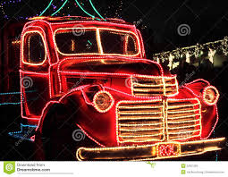 Classic Holiday Lights Vintage Truck Decorated Holiday Lights Stock Image Image
