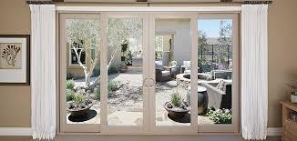 montecito series vinyl 4 panel sliding patio door with smarttouch handle