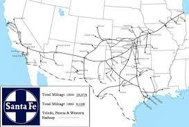 Brief History Of Us Railroads Santa Fe Train Map Train Route