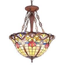 chloe lighting loretta tiffany style victorian 3 light inverted ceiling pendant