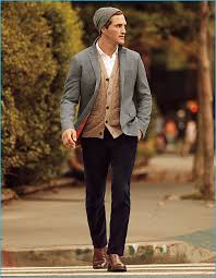 ollie edwards layers for fall in banana republic s grey sport coat with a white on