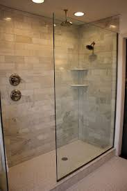 recessed lighting over shower. the doorless glass showerdoorless shower marble subway tile rain head and added recessed lighting a new hexagon white floor over o