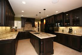 dark wood kitchen cabinets. Kitchen. U Shaped Black Wooden Cherry Kitchen Cabinet And Island With Marble Countertop On Dark Wood Cabinets
