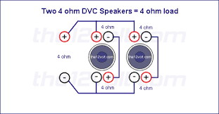 subwoofer wiring diagrams for two 4 ohm dual voice coil speakers voice coils wired in series speakers wired in parallel recommended amplifier stable at 4 2 or 1 ohm mono