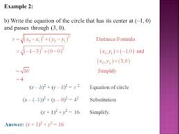 example 2 b write the equation of the circle that has its center at