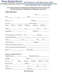 patient information form patient information perez family dental