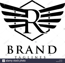 R Brand Design Letters R With Wings And Hexagon Logo Vector Creative