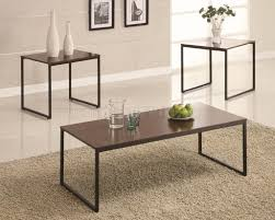 Coffee and accent table sets. Black Metal Base Brown Wood Top Modern 3pc Coffee Table Set