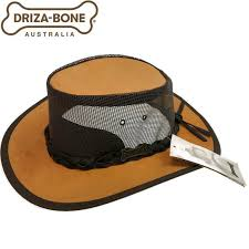 Drizabone Leather Cooler Jackaroo Hat Vent Squashy Travel Outback Wide Brim