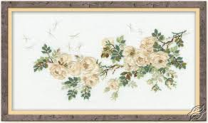 Blooming White Flowers Cross Stitch Kits By Riolis 762
