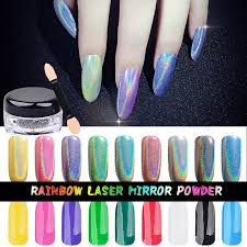Vysoká Kvalita 1g Box Duhové Zrcadlo Práškové Laserové Stříbro Chrome Pigmentové Nehty Glittery Sequins Diy Nail Decoration Supplies