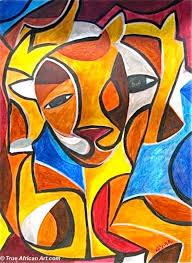 unknown artist african abstract art 2 paintings