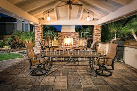 western outdoor living room design fire place