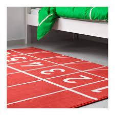 ikea springa area throw rug mat red kids decor track and field meet sprinter