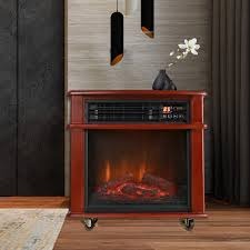 caesar fireplace fp404r qc infrared quartz electric freestanding insert heater stove rolling mantel 1000w 1500w overheat safety feature with wheels