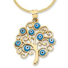 9ct yellow gold evil eye tree of life