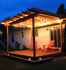 deck lighting ideas. awesome pergola deck with wraparound step and strand lighting it also has solar powered stair ideas