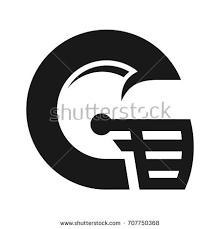 letter g football helmet vector logo letter g stock vector 707750368