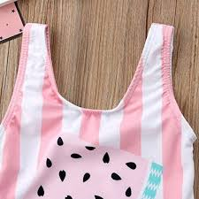 One opening Newborn Baby Girl Floral Watermelon Swimsuit Striped ...