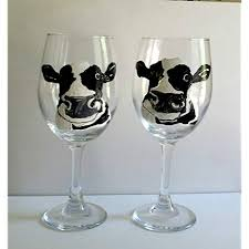 dairy cow hand painted 20 oz stemmed wine gles set of 2 kitchen décor