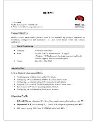 Linux Fresher Resume Format