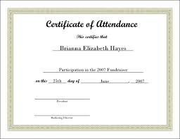 Sample Certificates Templates Certificate Of Attendance Template Certificate Of