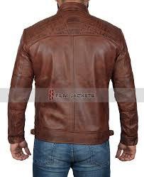 distressed brown racer jacket