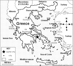 Small Picture Map of Greece Coloring Activity Printout EnchantedLearningcom