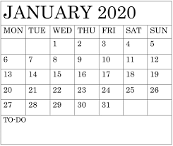 Free 2020 Monthly Calendar Template Blank January 2020 Calendar Monthly Template Free Latest