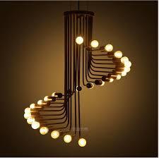 modern retro lighting. modern retro rotating staircase chandelier led lamps e27 loft creative bar lustre light chandeliers lighting i