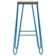 wood metal bar stools. Aqua Blue Hairpin Metal Bar Stool With Square Light Wood Seat Stools