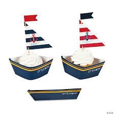 nautical boy baby shower cupcake