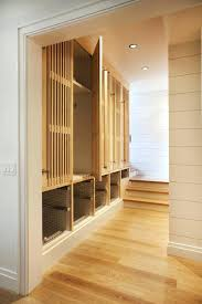 wood slat mudroom locker doors wooden lockers with storage units