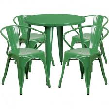 nicollet round 30 green metal indoor outdoor table set w 4 arm