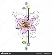абстрактная акварель тату лилии векторное изображение Kronalux