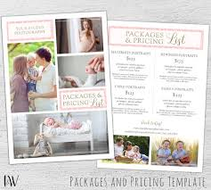 Photography Pricing Template, Photoshop Template, Marketing, Price ...
